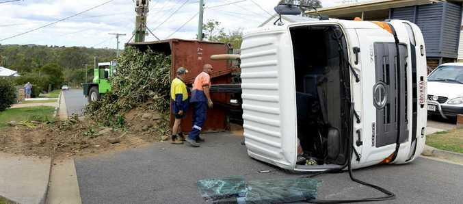 SKIP TRIP: A truck tipped over on Spencer St in Churchill on Saturday.