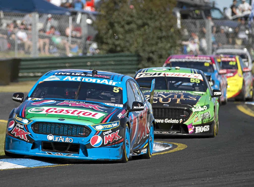 ON TRACK: Mark Winterbottom on his way to winning the Sandown 500.