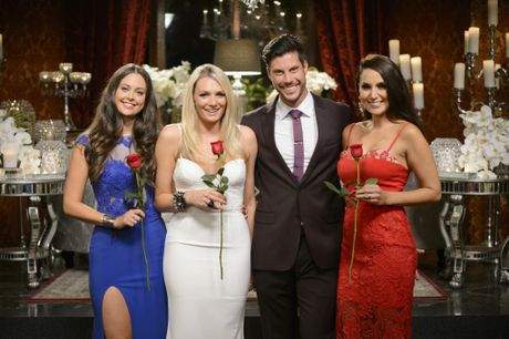 The Bachelor Sam Wood, second from right, pictured with finalists Lana Jeavons-Fellows, Sarah Mackay and Snezana Markoski.