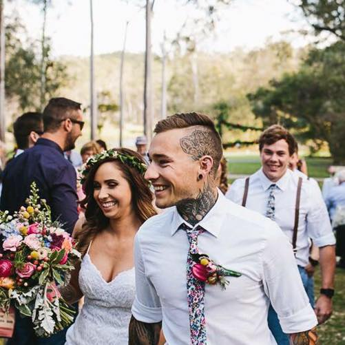 FIRST LOVE: Monique Hagan and Jordan Hoiberg wed in front of friends and family at the Tondoon Botanic Gardens.