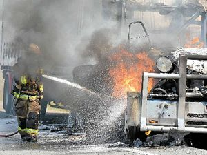 Highway chaos: Truck inferno, grass fire, crash within 50m