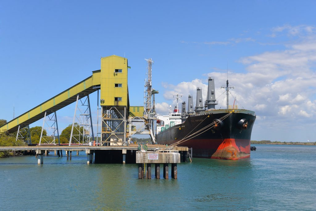 A sugar ship at the Port of Bundaberg.
