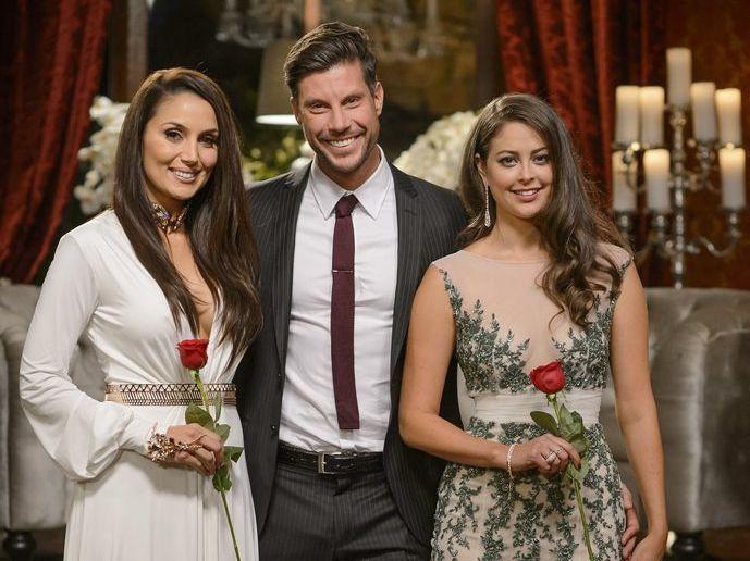 The Bachelor Sam Wood with finalists Snezana Markoski, left, and Lana Jeavons-Fellows.