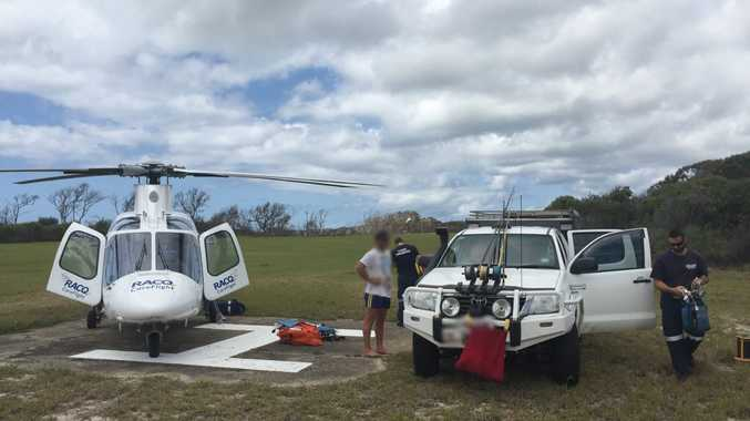 RESCUE: A boy has been airlifted by RACQ CareFlight Rescue following a sand boarding accident on Fraser Island. Photo RACQ CareFlight Rescue