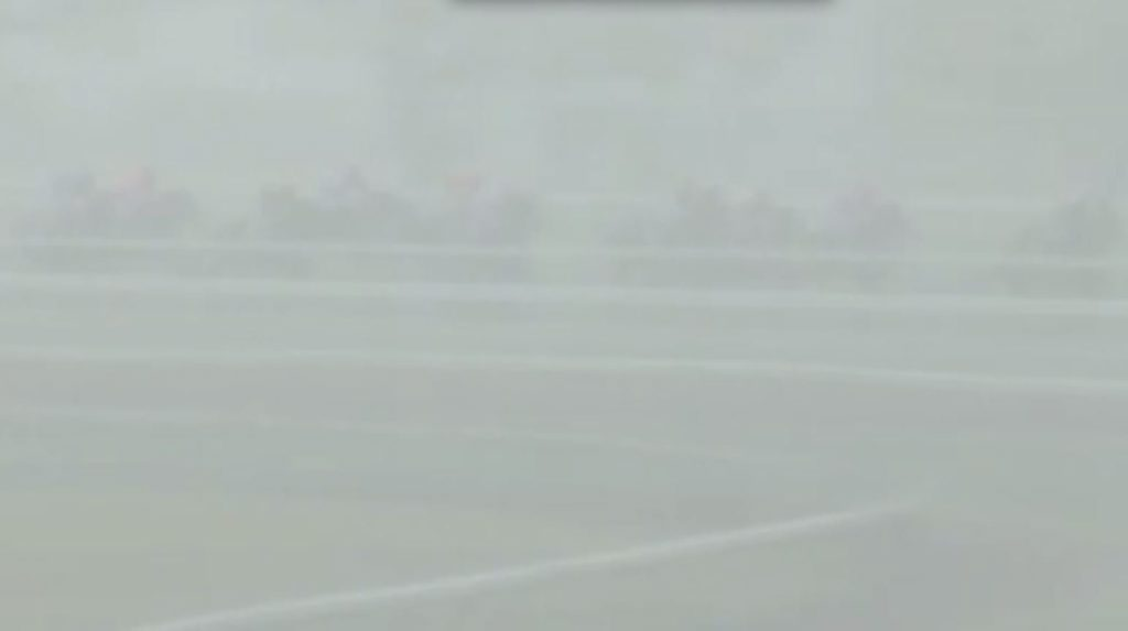 Horses are barely visible in a hail storm white out during race four at Grafton on Thursday, 9th September, 2015.