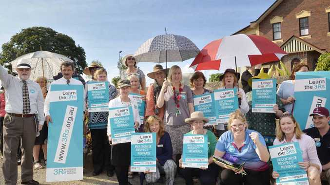 UNHAPPY EDUCATORS: Staff members at St Mary's College joined more than 400 teachers from 11 Catholic schools across Ipswich in a strike to protest what they claim to be unfair work conditions and pay.