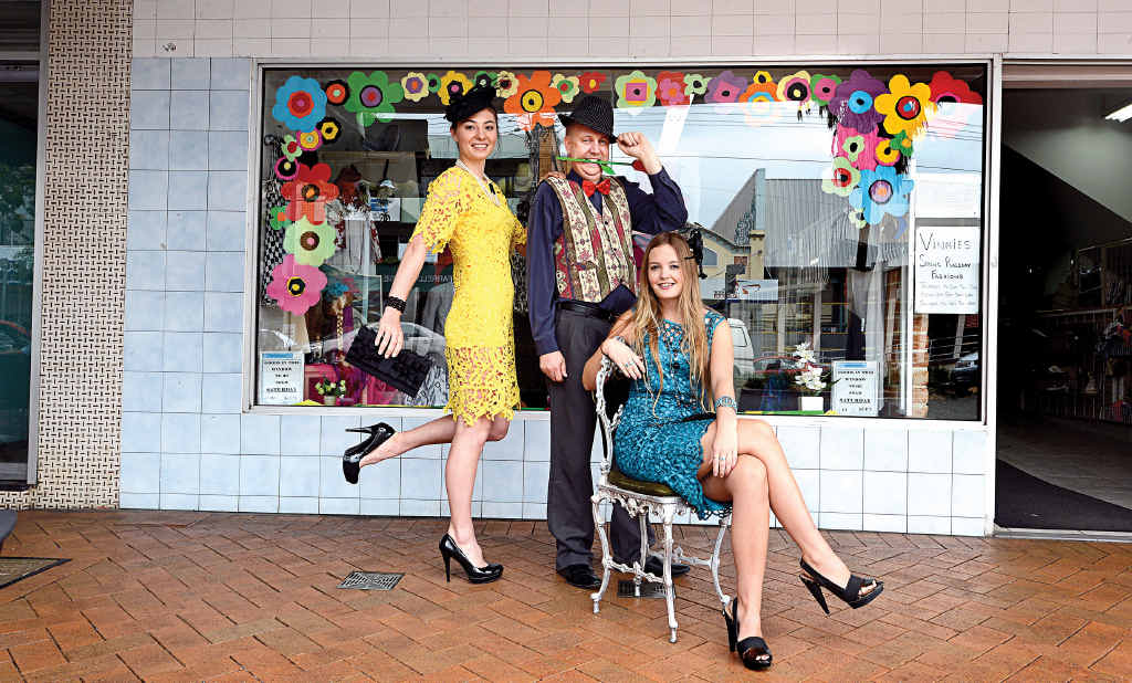 RACE IN FOR A BARGAIN: Dressed in St Vinnies fashion for the Lismore Cup are, from left, Annika Hallinan of Alstonville, executive officer for the Lismore Branch of St Vincent de Paul, Michael Timbrell, and Alana Gannon of Goonellabah.