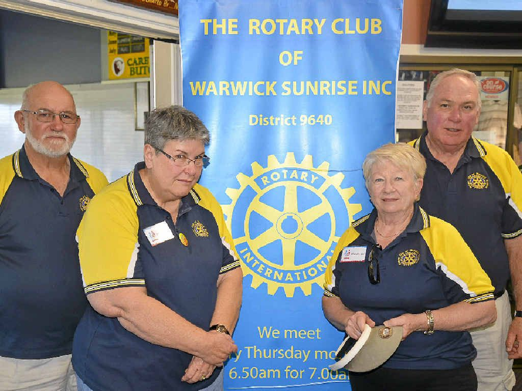 NO SLEEP 'TIL SUNRISE: Rotary Club of Warwick Sunrise members John and Sandra Head and Dell (president) and Neil Maxwell are part of a busy service club.