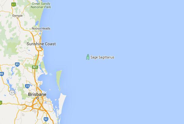 The Sage Sagittarius off the Sunshine Coast on Wednesday night.