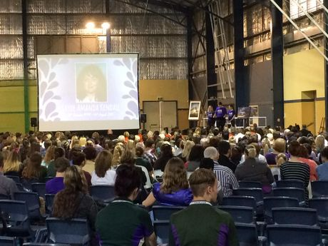 Mourners wear purple to the public memorial service for Jayde Kendall.