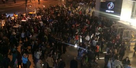 People flood into the streets following a massive earthquake off the coast of Chile. Photo / Supplied via Twitter