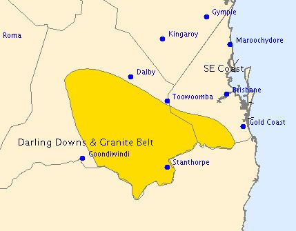 A severe thunderstorm warning issued for Darling Downs.