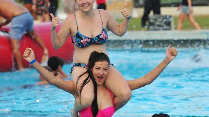 BIG SPLASH: Ryan Ogden-Brown, Emily Gray and Leandre Conradie at the Norville Pool Big Splash. Photo: Max Fleet / NewsMail
