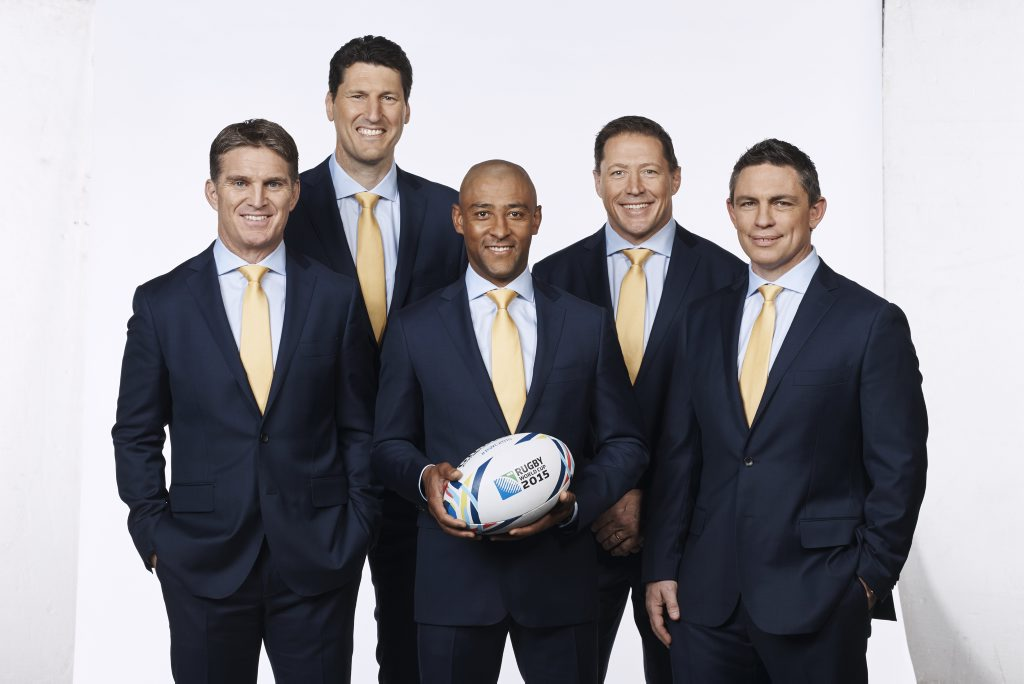 Fox Sports' 2015 Rugby World Cup commentary team, from left, Tim Horan, John Eales, George Gregan, Phil Kearns and Rod Kafer.