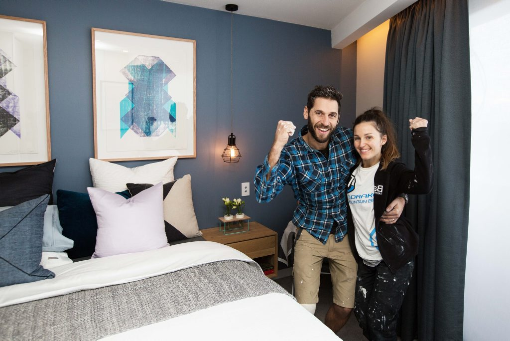 The Block contestants Dean and Shay in their winning guest bedroom.