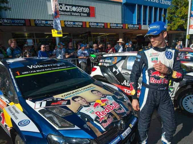 Reigning WRC world champion Sebastien Ogier in Coffs Harbour's city centre.
