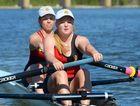 IN SYNC: RGS elite rowers Imogen Storey and Georgia Saunders practice ahead of today's Queensland Schools Rowing Championships.
