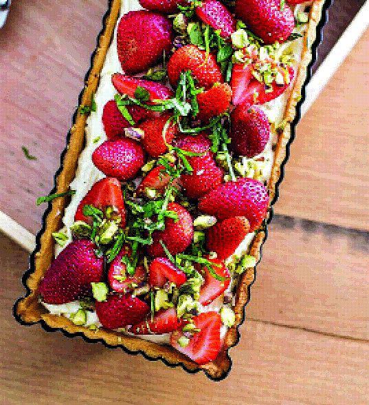 Strawberry, basil and cream tart.