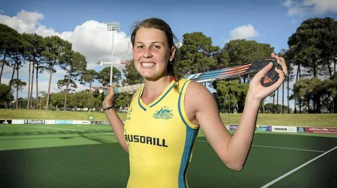 SCORCHING: Madison Fitzpatrick pictured ahead of her debut for the Hockeyroos earlier in the month, has been named for Queensland in the Australian Hockey League.