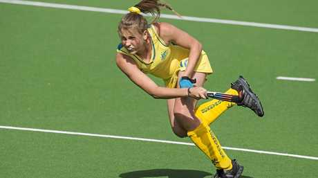 Madison Fitzpatrick pictured in her Hockeyroos debut, will now turn her attention to the Australian Hockey League