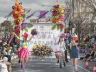 Tia Saunders, on left. Grand Central Floral Parade of the Carnival of Flowers 2015 . Saturday, Sep 19, 2015 . Photo Nev Madsen / The Chronicle