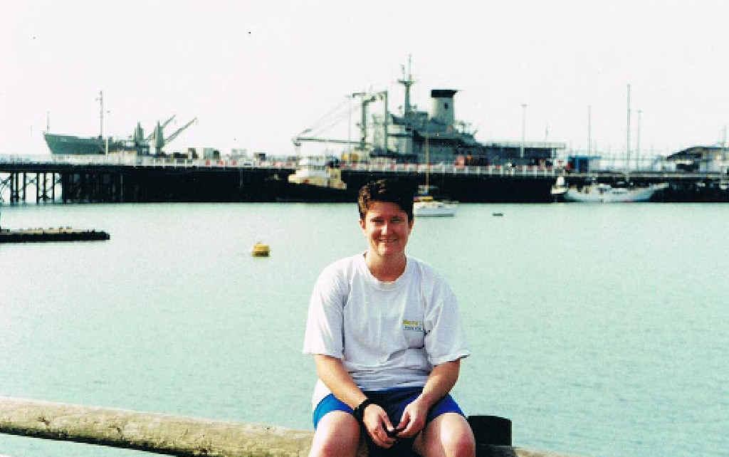 PROUD SERVICE: Kathleen Heath in front of the HMAS Tobruk in Darwin around 2002.