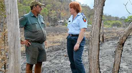 LONG WEEKEND: Ron Gurnett and Fiona Quirk from Rural Fire Services helped to co-ordinate the response to the fire that spread quickly across properties south of Sarina.