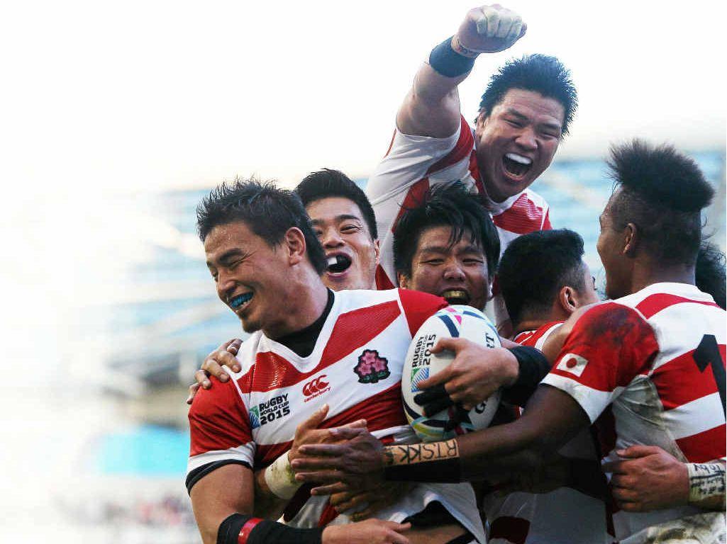 GREATEST WIN: Ayumu Goromaru celebrates with teammates.