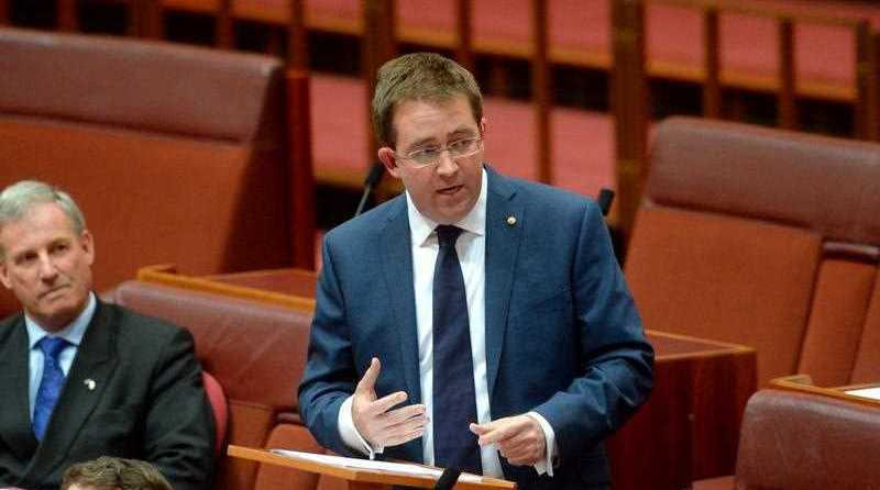 Liberal Party Senator James McGrath delivers his maiden speech to the Senate at Parliament House Canberra, Wednesday, July 16, 2014.