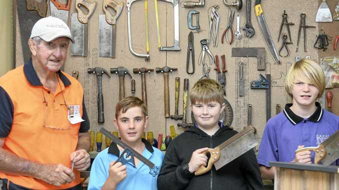 SKILLED UP: Noel Mather, from GYM, with participants Ethan Riddle,  Liam Withers  and Charlie Counsell.