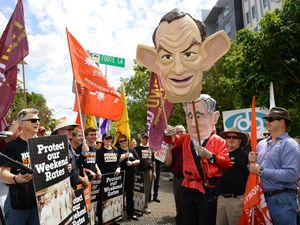 Unions rally against penalty rate cuts