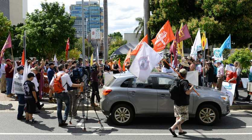 A rally over penalty rates in Ipswich on Monday. Photo: Rob Williams / The Queensland Times