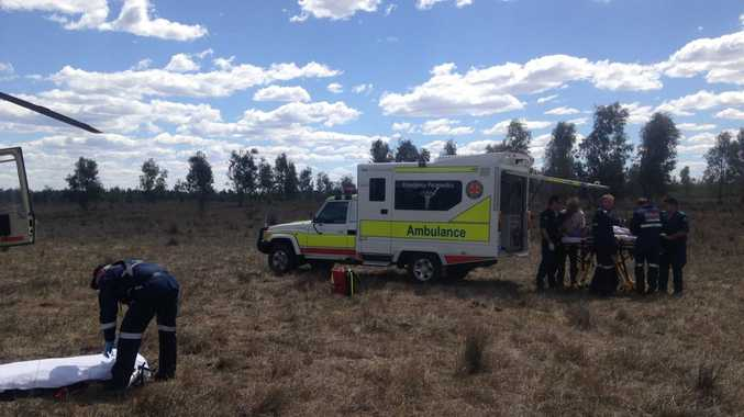 A woman in her 30s is in a stable condition after she rolled her quad bike east of Roma. Photo courtesy of Careflight.
