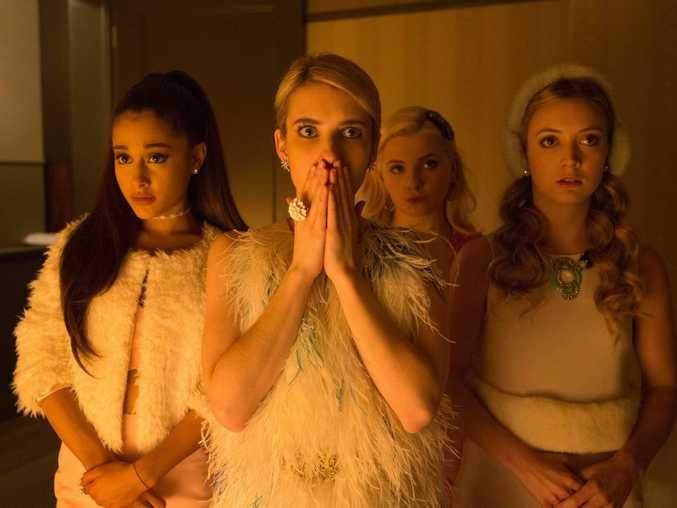Ariana Grande, Emma Roberts, Abigail Breslin and Billie Lourd in a scene from Scream Queens.