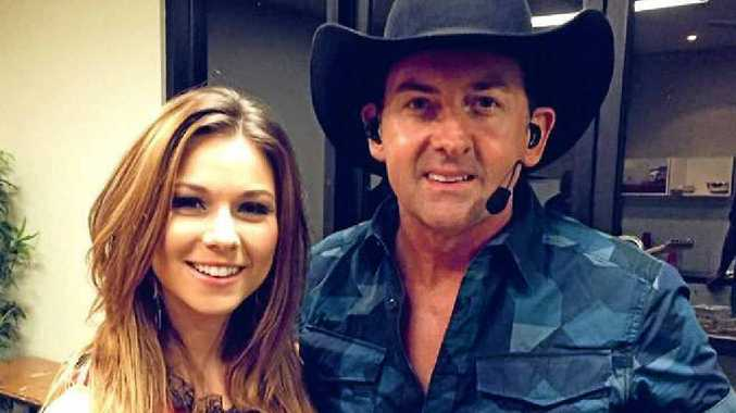 GOOD MATES: Caitlyn Shadbolt and Lee Kernaghan backstage after performing together in Maryborough at the weekend.