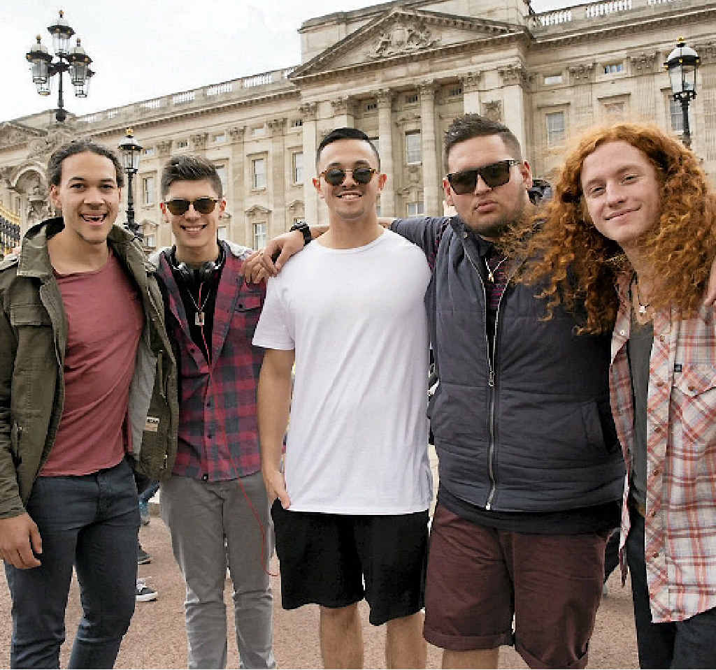 LONDON TOWN: The X Factor contestant Jimmy Davis, right, pictured with his fellow Under 25 Boys category members in London.