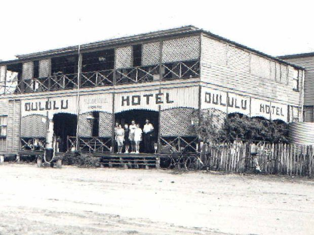 HISTORIC BUILDING: The Dululu Hotel around the late 1930s or early 1940s. James and Sophia Duthie are pictured.