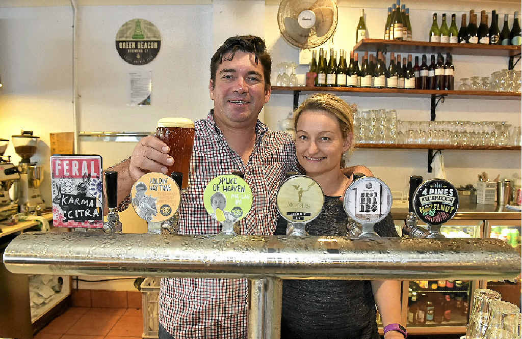 GOOD BREW: Matt and Sharynne Wilson, from Blackwater Trading at Moffat Beach, before the transformation of their space into the Moffat Beach Brewing Co.