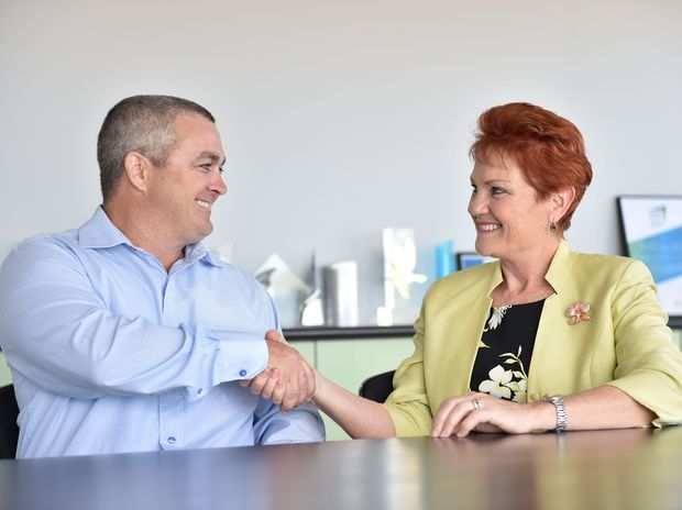 Pauline Hanson flew into Hervey Bay Airport yesterday to announce Damian Huxham as the One Nation candidate for Hinkler.