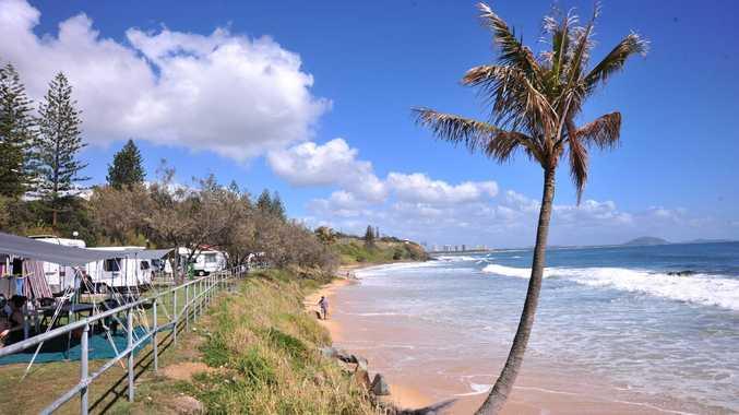 King tide gets close to the caravan park at Mooloolaba. Photo: Iain Curry / Sunshine Coast Daily