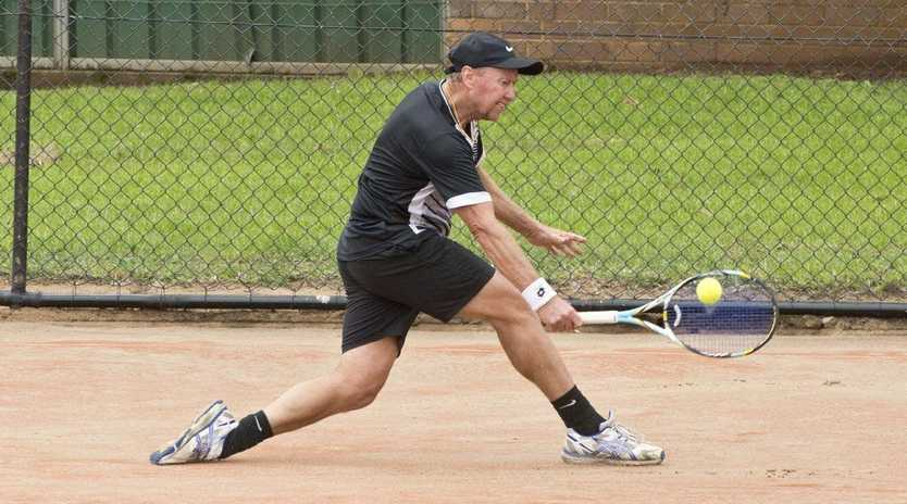Veteran tennis players take to the courts in Toowoomba during the October long weekend.