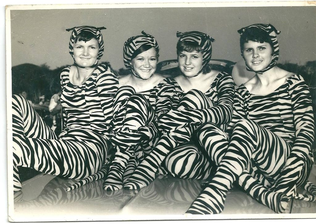 TIGERS: Oleander Carnival Poolmans Service Station Tiger In Your Tank promotional girls- Dawn Clarke, Robyn Bannah, Nita Marr and Connie Keane.