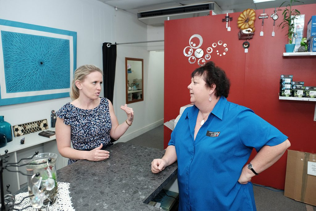 MINISTERIAL VISIT: Minister for Tourism and Small Business Kate Jones met with Everything Office owner Tracey Cameron in Proserpine yesterday. Photo Matthew Newton / The Guardian