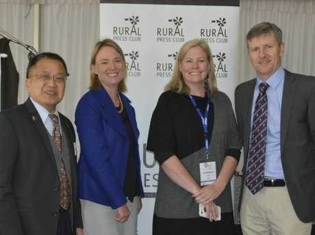 Guest speaker at the Rural Press Club breakfast executive director of China Agri-Business Ltd Alfred Chung with Rural Press club's Peta Ward, Jo Sheppard from TSBE and Rural Press Club president Brendan Egan. Photo Amy Lyne /The Chronicle