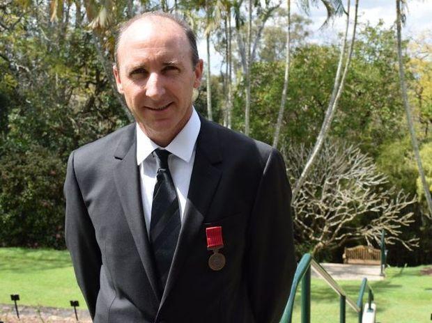 Toowoomba flood hero Chris Skehan won a Bravery Award for rescuing Blake Rice in 2011.
