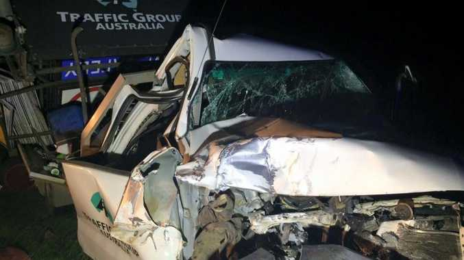 A utility was extensively damaged in a three-vehicle crash on the Warrego Hwy Tuesday night. Photo Facebook