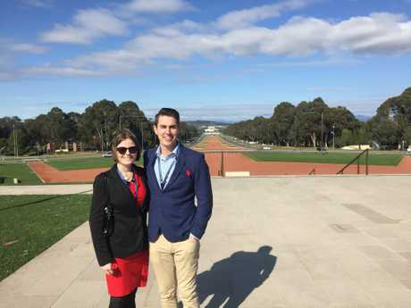 USQ students Alice Foddy and Simon Playford in Canberra.