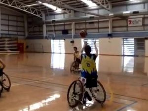 Suncoast Spinners play demo Wheelchair Basketball game