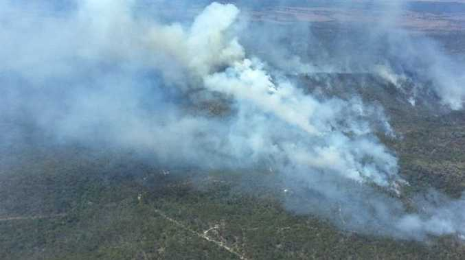 FIRESPOTTER: An aerial images from a bushfire buring at Bucca. Photo taken 12pm, Wednesday September 23, 2015. Photo Contributed