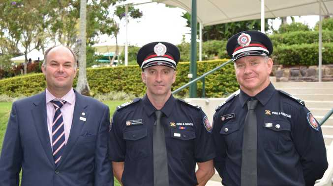Martin Cole, James Farraway and Andrew Smith have received bravery awards for their work during the 2013 Bundaberg flood. Photo: Geoff Egan / APN Newsdesk